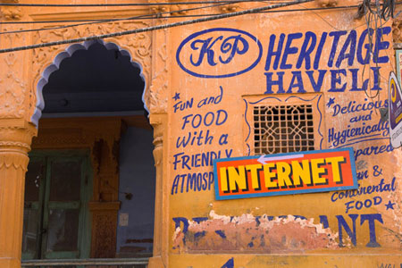 Signs of the times, an Internet cafe in an old heritage haveli in India