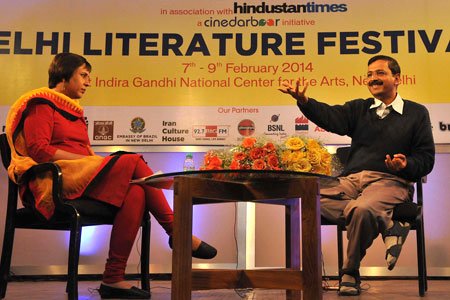 Former Delhi Chief Minister Arvind Kejriwal in conversation with journalist Barkha Dutt