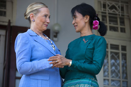 Aung San Suu Kyi with US Secretary of State, Hillary Clinton, after their meeting at Suu Kyi's residence on 2 December, 2011