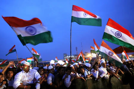 Anna Hazare supporters rally towards the end of the fast in New Delhi