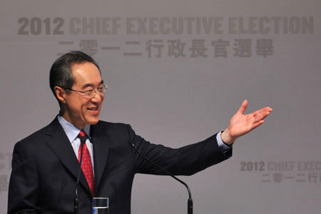 Hong Kong Chief Executive candidate and former Hong Kong Chief Secretary Henry Tang at a campaign rally