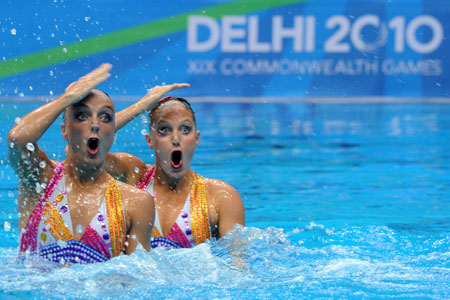 Canadian synchronised swimmers competing in the Commonwealth Games in New Delhi, India, October 2010