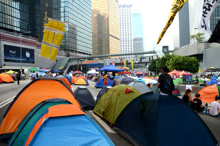 Occupy Hong Kong - the Admiralty protest site turns into a tent city
