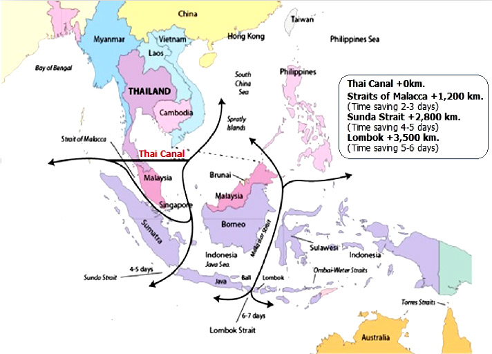 Thailand's Kra Canal could cut shipping time between the