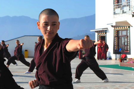 Martial arts are no longer a male preserve. Nuns practice kung fu at a Himalayan monastery