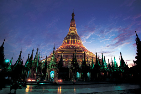 Yangon's Shwedagon Pagoda at dusk