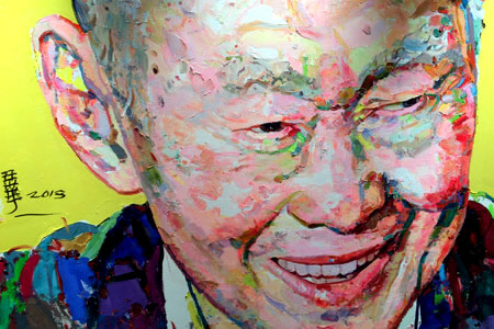 Modern oil portrait of former Singapore Prime Minister Lee Kuan Yew flashing a rare smile.