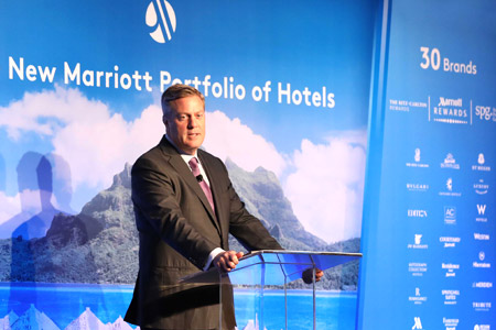 Craig Smith, Marriott International President and MD Asia-Pacific announcing the Starwood takeover at the W Hong Kong on 23 September 2016